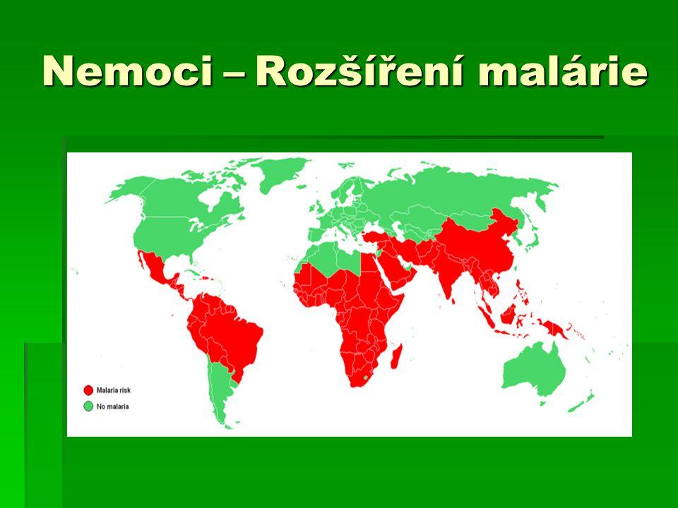 Nemoci – Rozšíření malárie