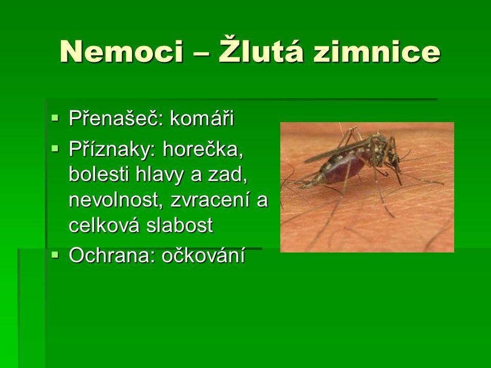 Nemoci – Žlutá zimnice  Přenašeč: komáři  Příznaky: horečka, bolesti hlavy a zad, nevolnost, zvracení a celková slabost  Ochrana: očkování