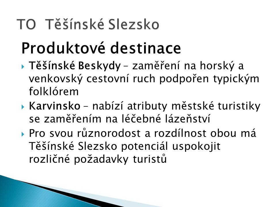 Produktové destinace  Těšínské Beskydy – zaměření na horský a venkovský cestovní ruch podpořen typickým folklórem  Karvinsko – nabízí atributy městs