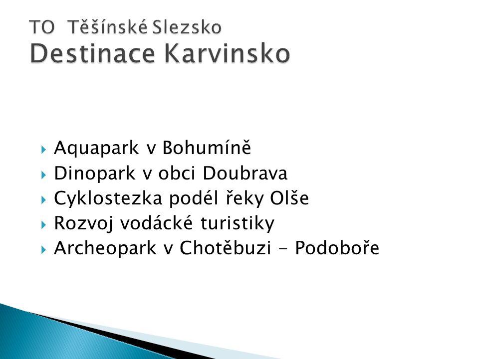  Aquapark v Bohumíně  Dinopark v obci Doubrava  Cyklostezka podél řeky Olše  Rozvoj vodácké turistiky  Archeopark v Chotěbuzi - Podoboře