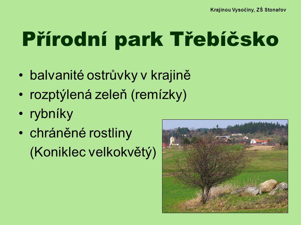 Krajinou Vysočiny, ZŠ Stonařov Přírodní park Třebíčsko balvanité ostrůvky v krajině rozptýlená zeleň (remízky) rybníky chráněné rostliny (Koniklec velkokvětý)