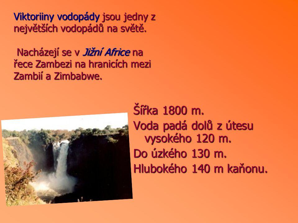 Šířka 1800 m. Voda padá dolů z útesu vysokého 120 m. Do úzkého 130 m. Hlubokého 140 m kaňonu. Viktoriiny vodopády jsou jedny z největších vodopádů na