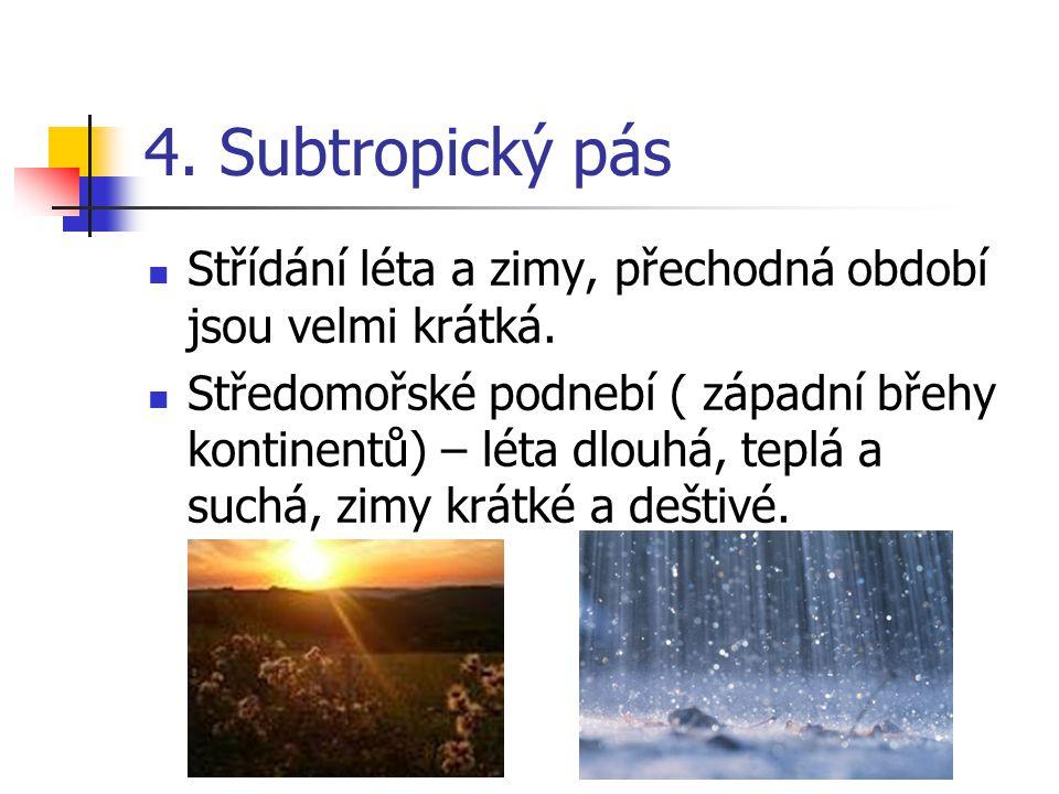 4. Subtropický pás Střídání léta a zimy, přechodná období jsou velmi krátká. Středomořské podnebí ( západní břehy kontinentů) – léta dlouhá, teplá a s