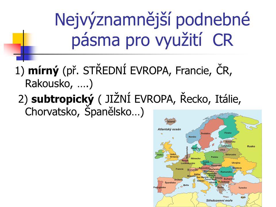 Nejvýznamnější podnebné pásma pro využití CR 1) mírný (př. STŘEDNÍ EVROPA, Francie, ČR, Rakousko, ….) 2) subtropický ( JIŽNÍ EVROPA, Řecko, Itálie, Ch