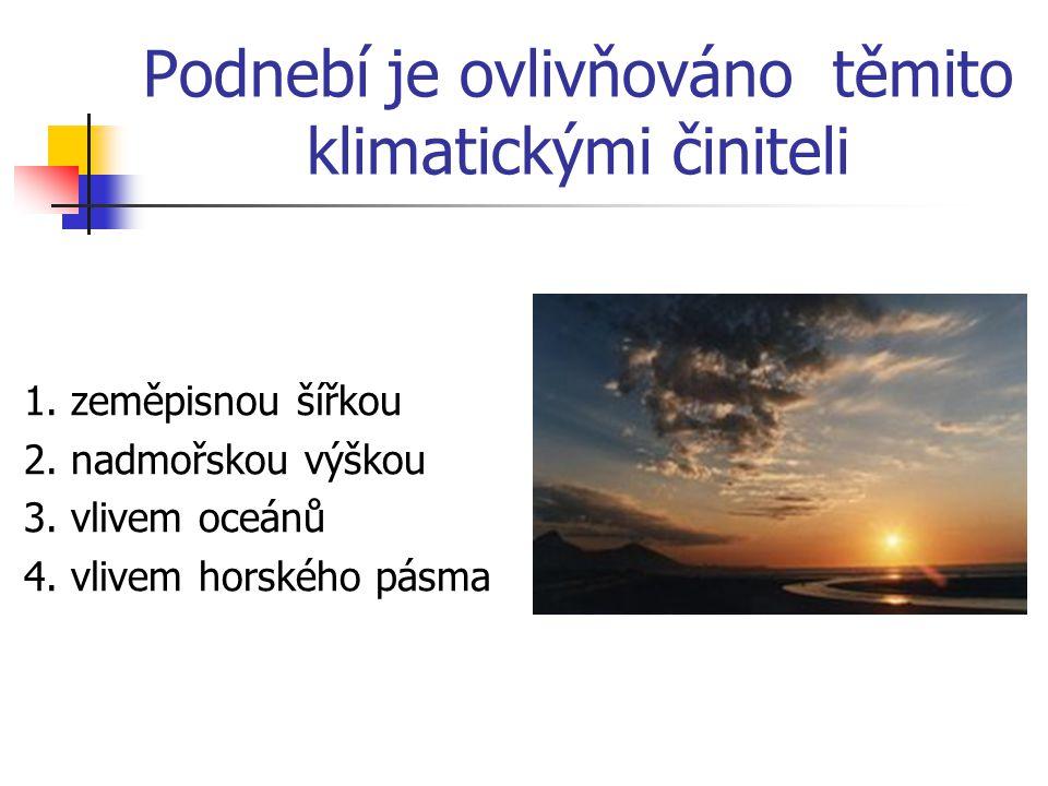 Podnebí je ovlivňováno těmito klimatickými činiteli 1. zeměpisnou šířkou 2. nadmořskou výškou 3. vlivem oceánů 4. vlivem horského pásma