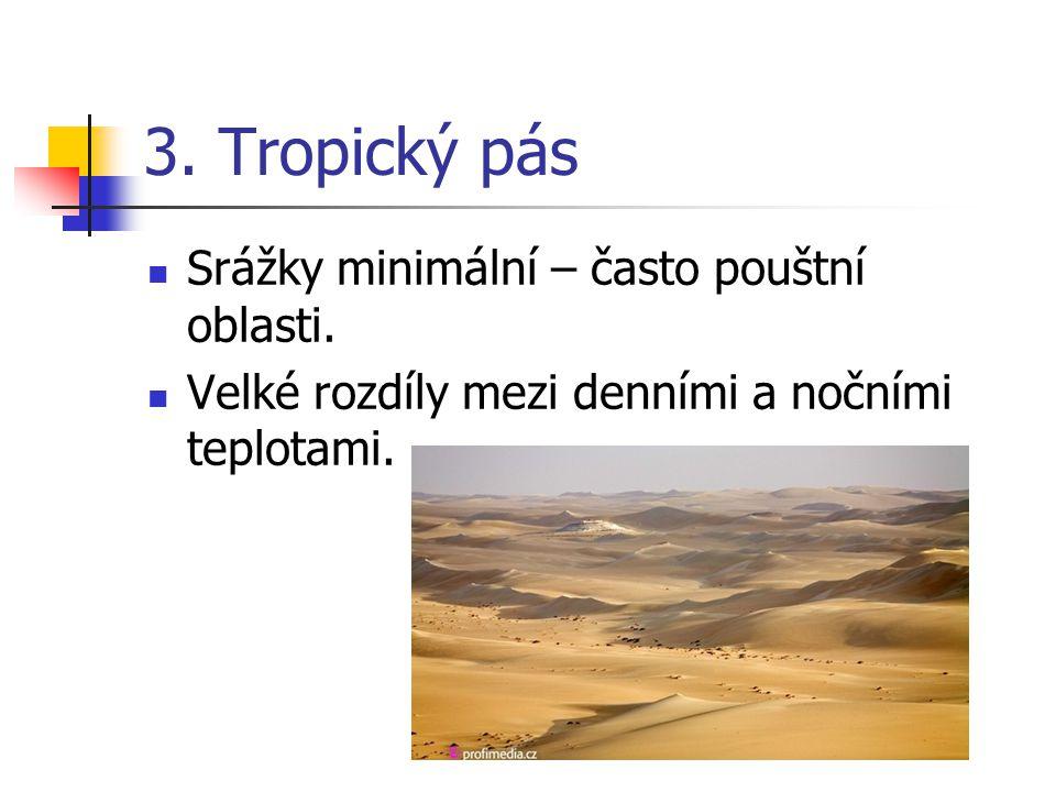 3. Tropický pás Srážky minimální – často pouštní oblasti. Velké rozdíly mezi denními a nočními teplotami.