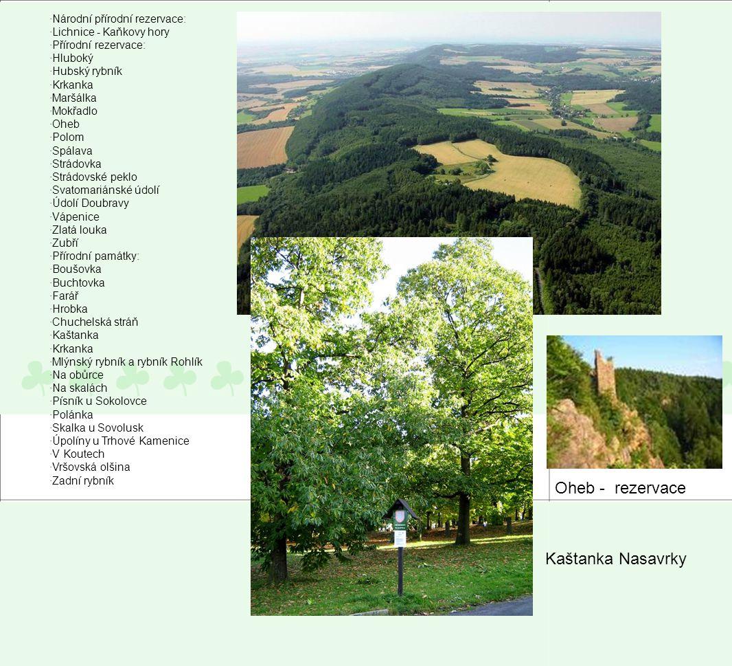 ·Národní přírodní rezervace: ·Lichnice - Kaňkovy hory ·Přírodní rezervace: ·Hluboký ·Hubský rybník ·Krkanka ·Maršálka ·Mokřadlo ·Oheb ·Polom ·Spálava