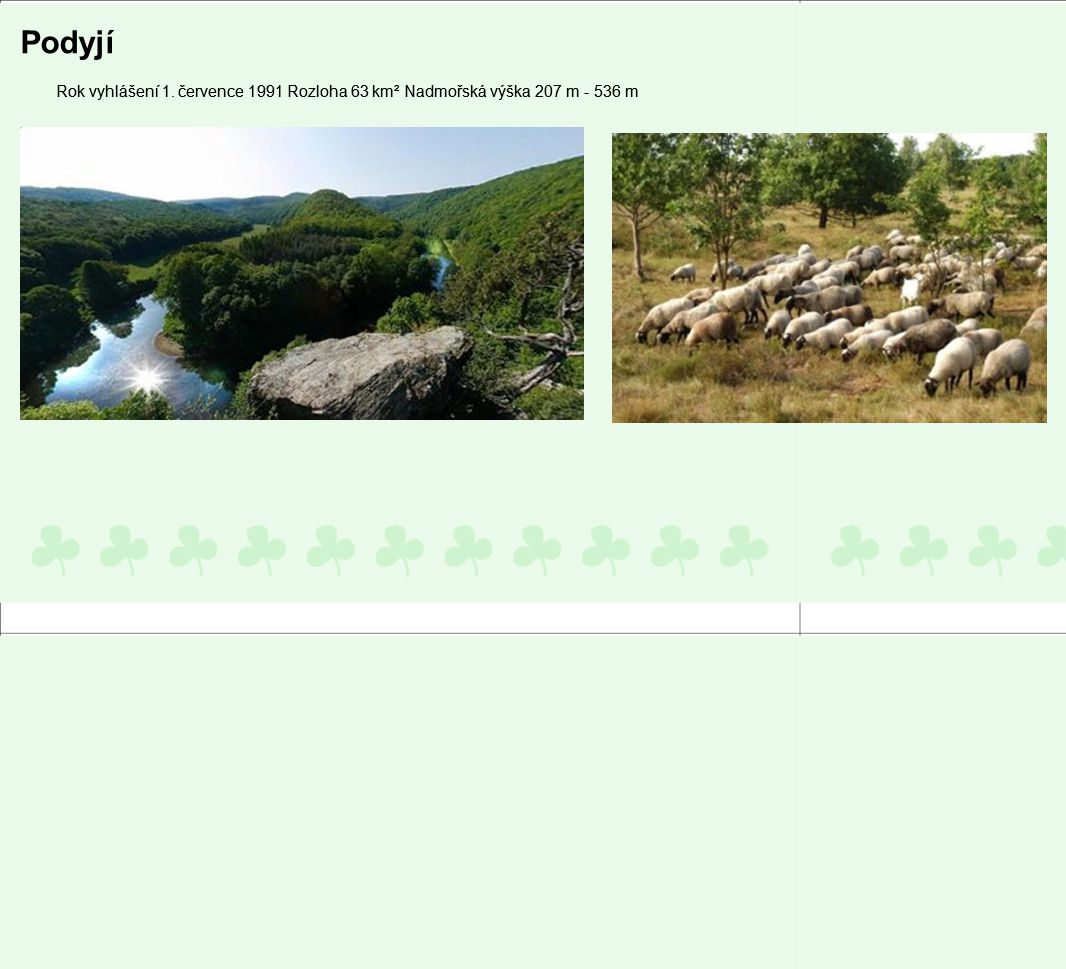 Podyjí Rok vyhlášení 1. července 1991 Rozloha 63 km² Nadmořská výška 207 m - 536 m