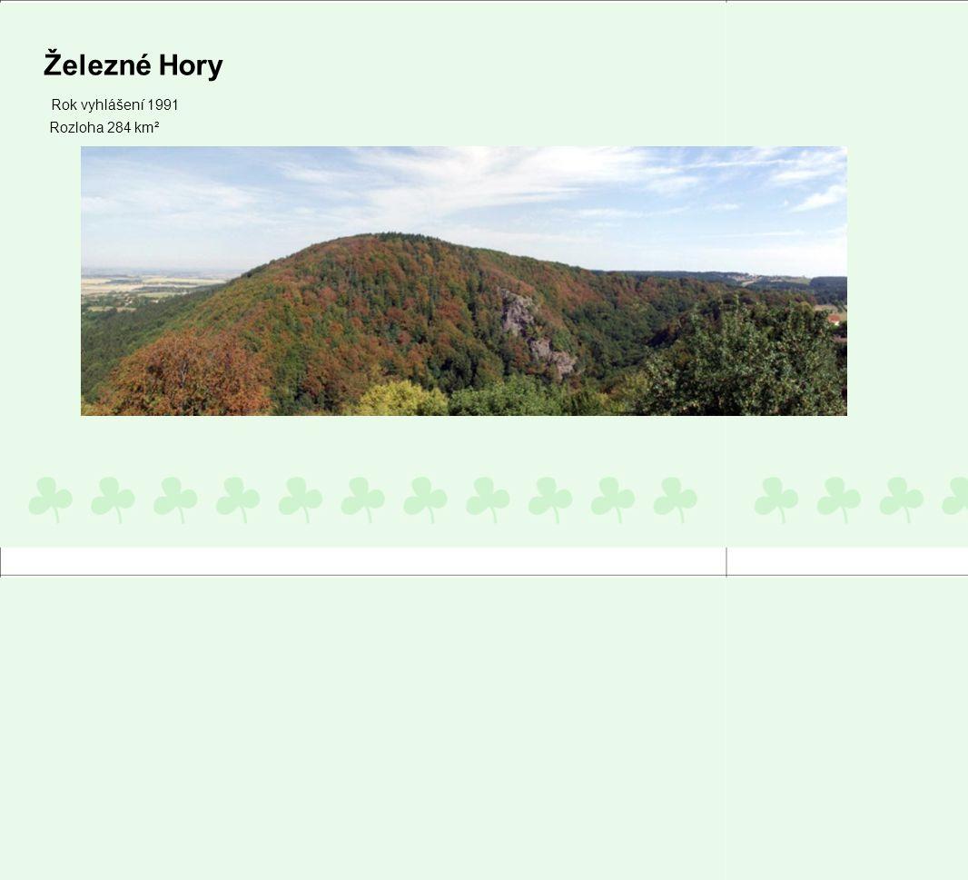 Železné Hory Rok vyhlášení 1991 Rozloha 284 km²