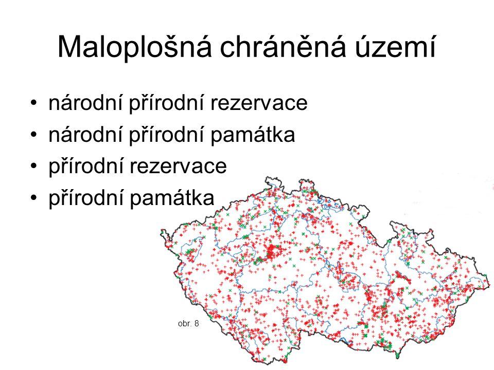 Maloplošná chráněná území národní přírodní rezervace národní přírodní památka přírodní rezervace přírodní památka obr. 8