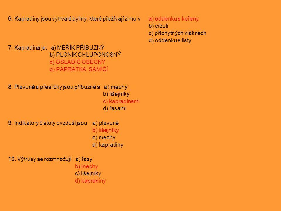 6. Kapradiny jsou vytrvalé byliny, které přežívají zimu va) oddenku s kořeny b) cibuli c) příchytných vláknech d) oddenku s listy 7. Kapradina je: a)