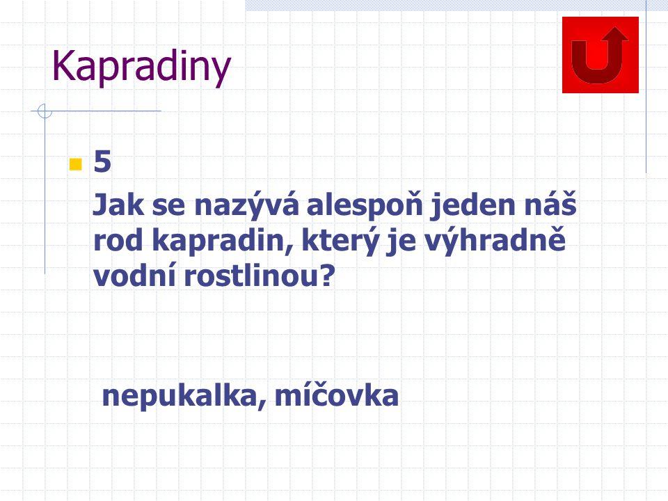 Kapradiny 5 Jak se nazývá alespoň jeden náš rod kapradin, který je výhradně vodní rostlinou? nepukalka, míčovka