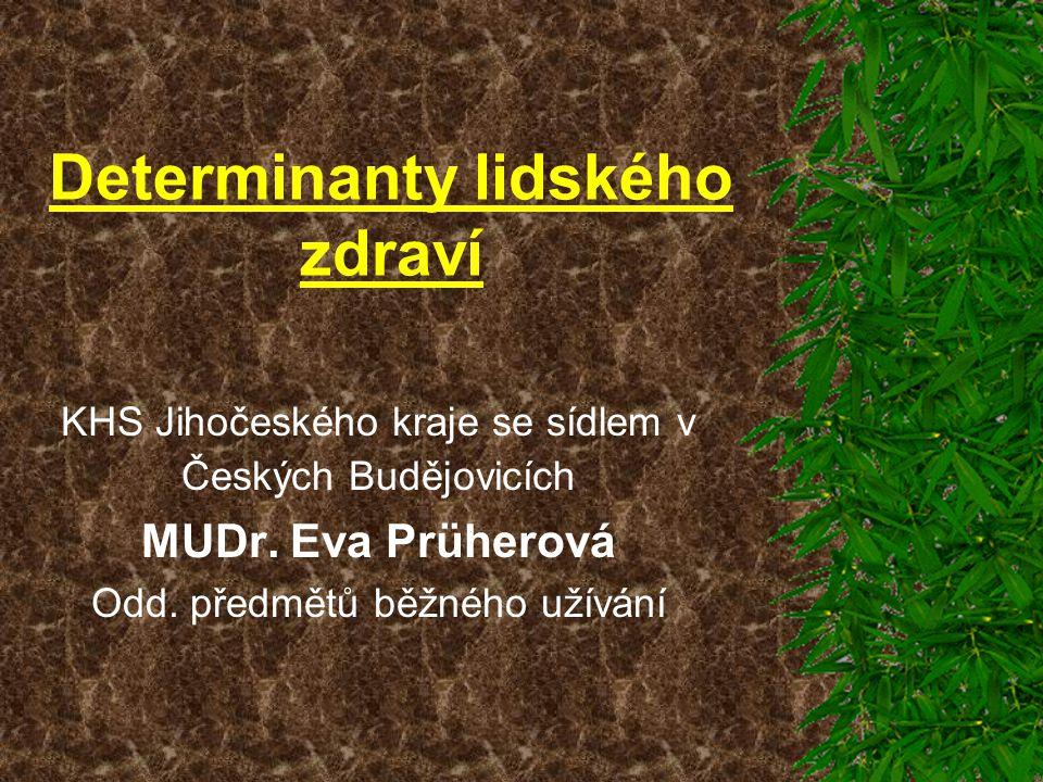 Determinanty lidského zdraví KHS Jihočeského kraje se sídlem v Českých Budějovicích MUDr. Eva Prüherová Odd. předmětů běžného užívání