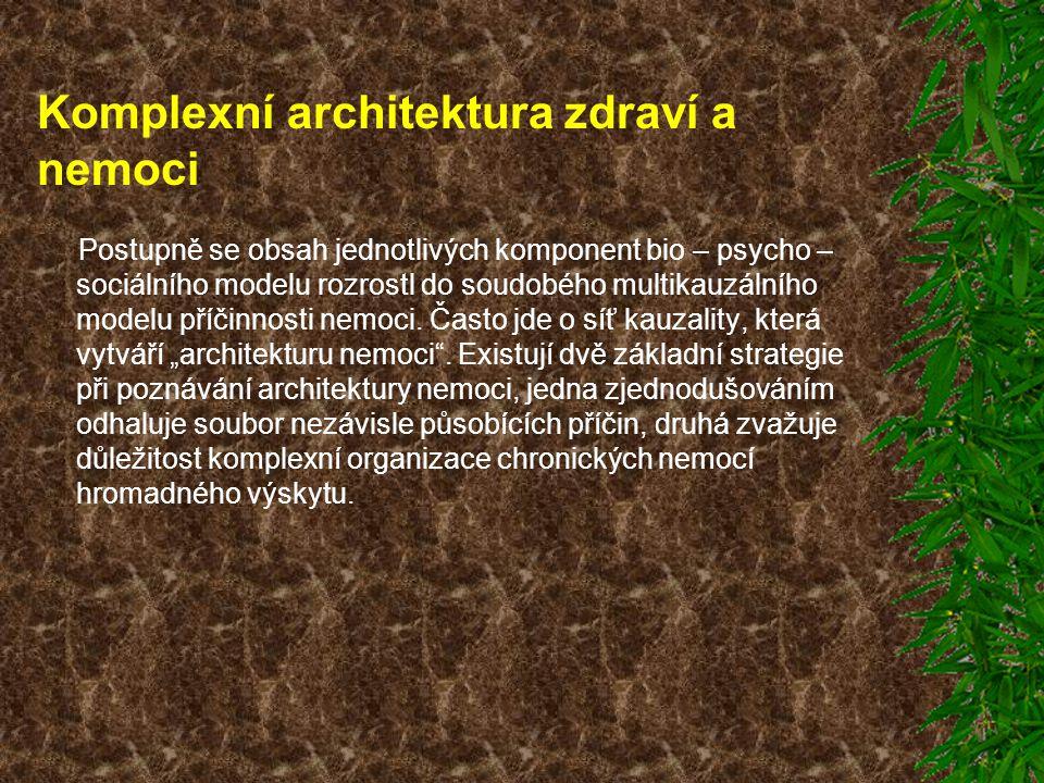 Komplexní architektura zdraví a nemoci Postupně se obsah jednotlivých komponent bio – psycho – sociálního modelu rozrostl do soudobého multikauzálního