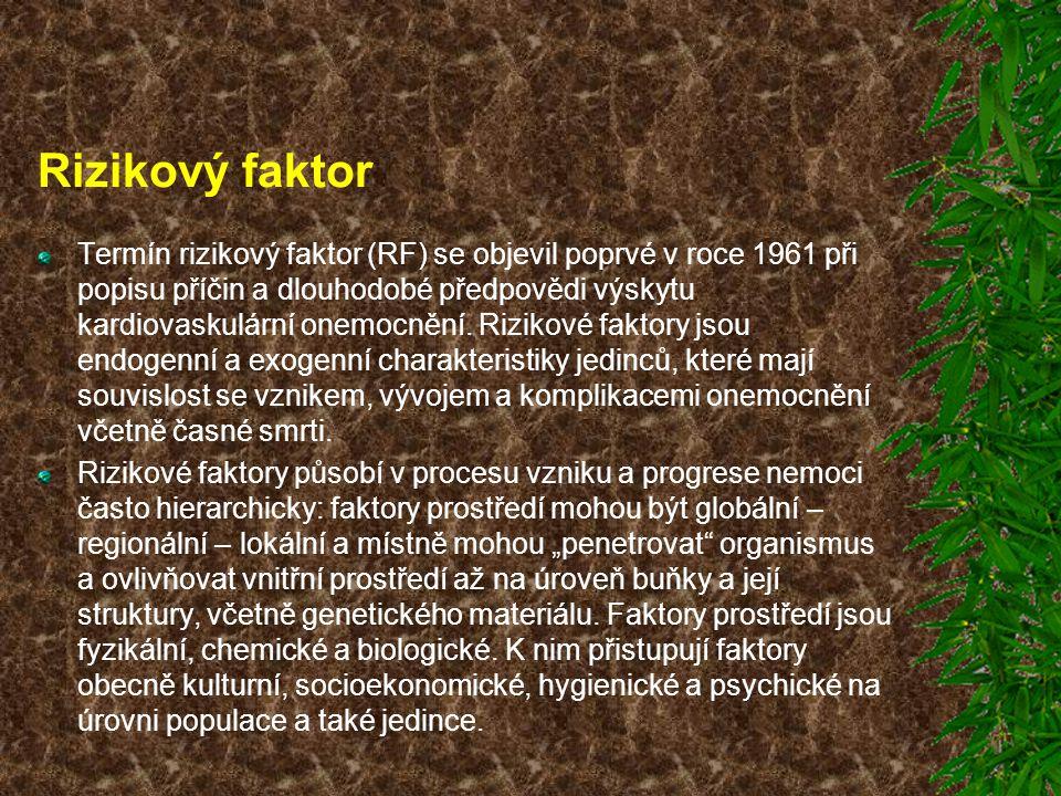 Rizikový faktor Termín rizikový faktor (RF) se objevil poprvé v roce 1961 při popisu příčin a dlouhodobé předpovědi výskytu kardiovaskulární onemocněn