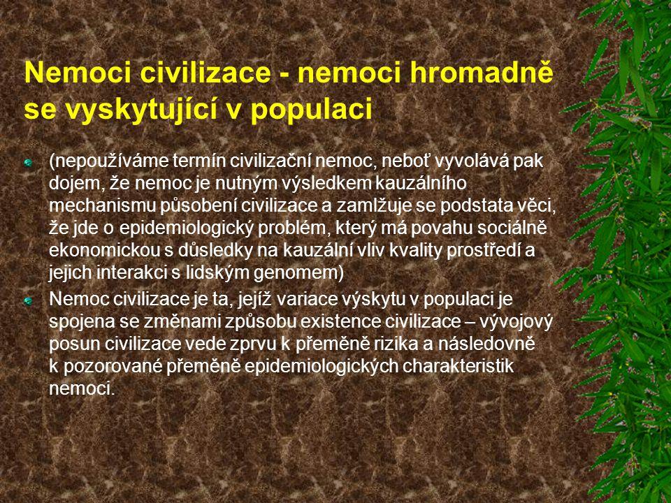 Nemoci civilizace - nemoci hromadně se vyskytující v populaci (nepoužíváme termín civilizační nemoc, neboť vyvolává pak dojem, že nemoc je nutným výsl