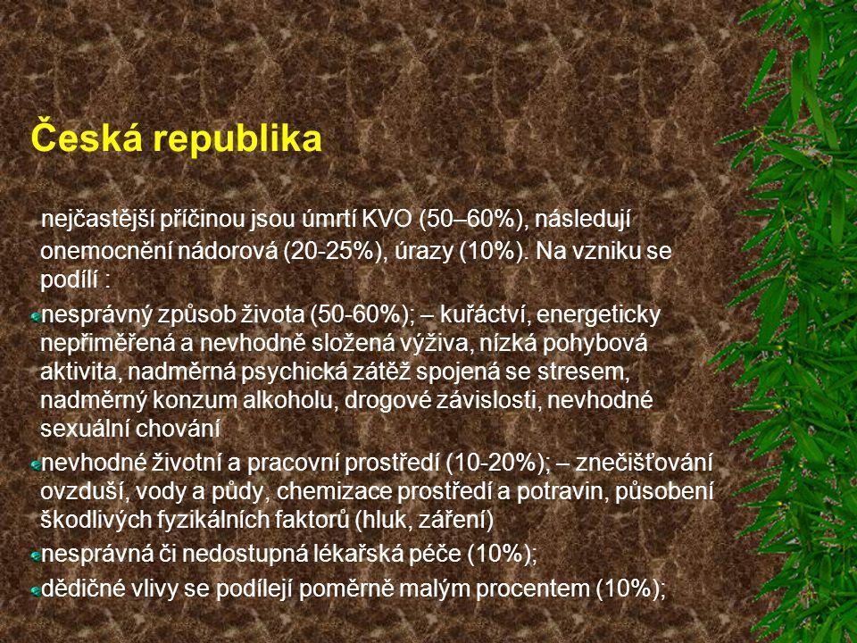 Česká republika nejčastější příčinou jsou úmrtí KVO (50–60%), následují onemocnění nádorová (20-25%), úrazy (10%). Na vzniku se podílí : nesprávný způ