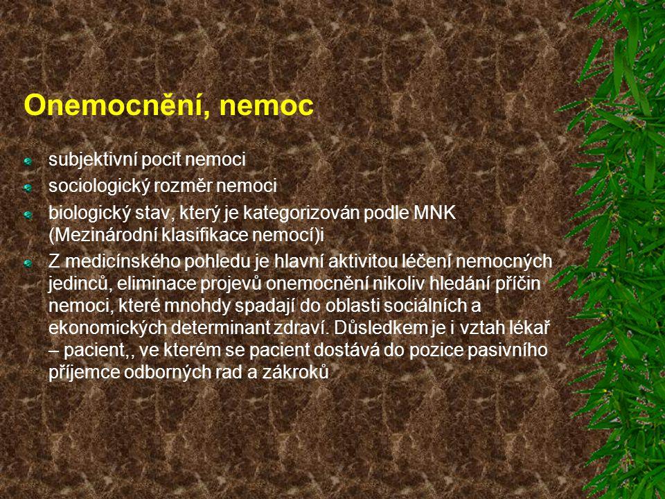 Onemocnění, nemoc subjektivní pocit nemoci sociologický rozměr nemoci biologický stav, který je kategorizován podle MNK (Mezinárodní klasifikace nemoc