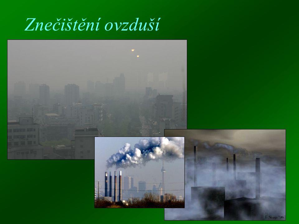 Znečištění ovzduší  Znečištění ovzduší ČR  Škodlivé látky v ovzduší  Vývoj znečištění ovzduší  Nejznámější ekologické organizace  Ekologické a neekologické získávání energie  Spalovny  Nejkritičtější oblasti světa z hlediska znečištění  Ozonová díra  Kyselý déšť  Vliv znečištěného vzduchu na zdraví
