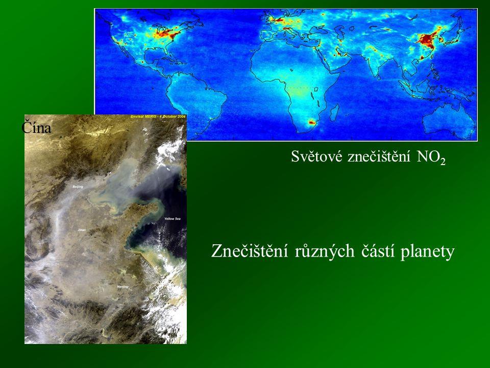 Znečištění různých částí planety Čína Světové znečištění NO 2