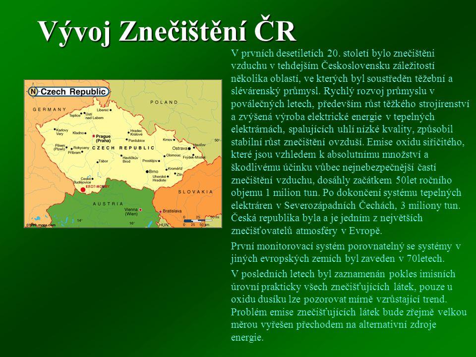 Vývoj Znečištění ČR V prvních desetiletích 20.