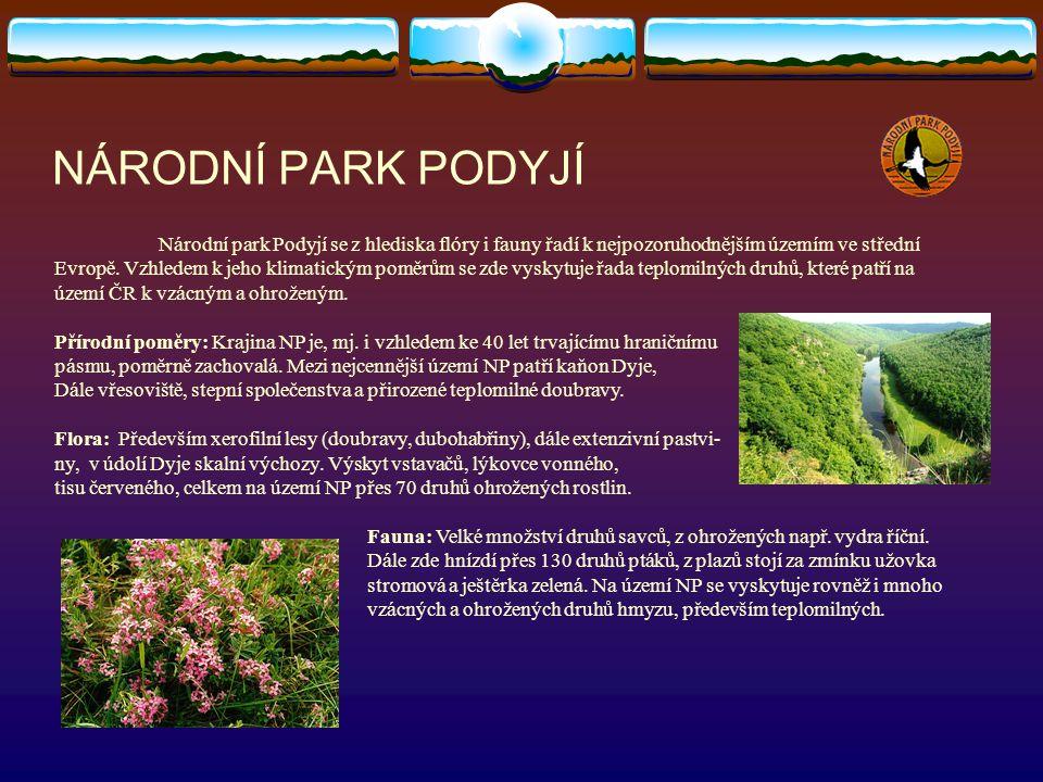 NÁRODNÍ PARK PODYJÍ Národní park Podyjí se z hlediska flóry i fauny řadí k nejpozoruhodnějším územím ve střední Evropě. Vzhledem k jeho klimatickým po