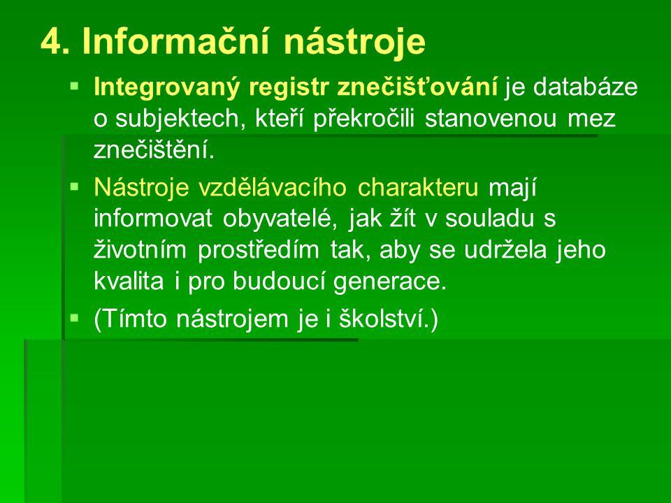 4. Informační nástroje   Integrovaný registr znečišťování je databáze o subjektech, kteří překročili stanovenou mez znečištění.   Nástroje vzděláv
