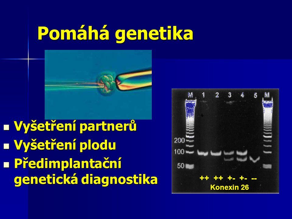 ++ ++ +- +- -- ++ ++ +- +- -- Konexin 26 Konexin 26 Vyšetření partnerů Vyšetření partnerů Vyšetření plodu Vyšetření plodu Předimplantační genetická diagnostika Předimplantační genetická diagnostika Pomáhá genetika