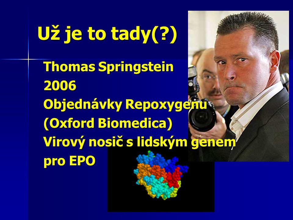 Už je to tady( ) Thomas Springstein 2006 Objednávky Repoxygenu (Oxford Biomedica) Virový nosič s lidským genem pro EPO