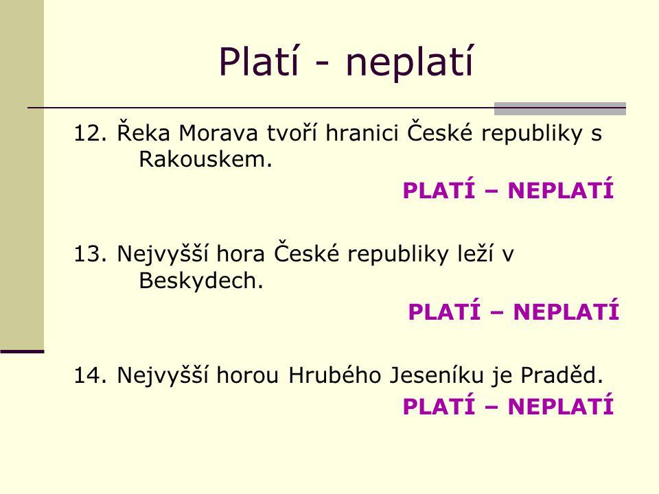 Platí - neplatí 12.Řeka Morava tvoří hranici České republiky s Rakouskem.