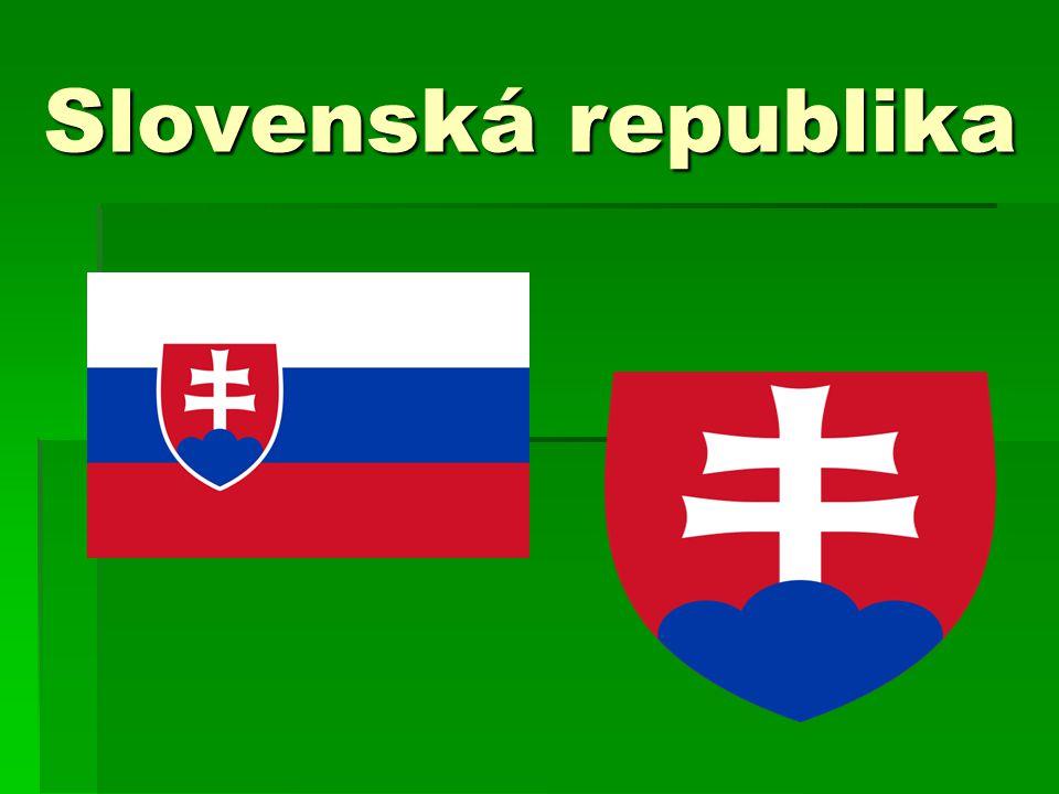 Základní údaje  státní zřízení - republika  hlavní město - Bratislava  vznik - 1.1.1993  rozloha - 48 845 km 2  počet obyvatel - 5 439 448  jazyk - slovenština  je členskou zemí Evropské unie  náboženství - 60% katolíci,9% protestanti,10% bez vyznání  národnostní složení - 80% Slováci,11% Maďaři,2% Romové  hranice – Polsko,Česká republika,Ukrajina, Maďarsko  nejvyšší místo - Gerlachovský štít (2 655 m)  nejnižší místo - Bodrog (94 m)