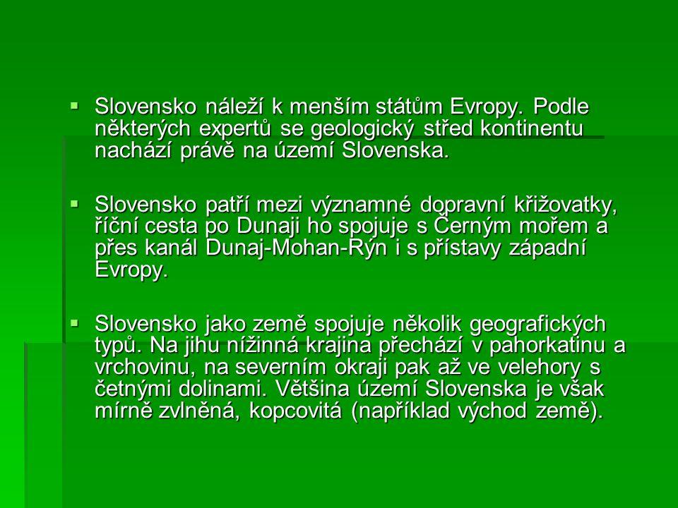  Slovensko náleží k menším státům Evropy.