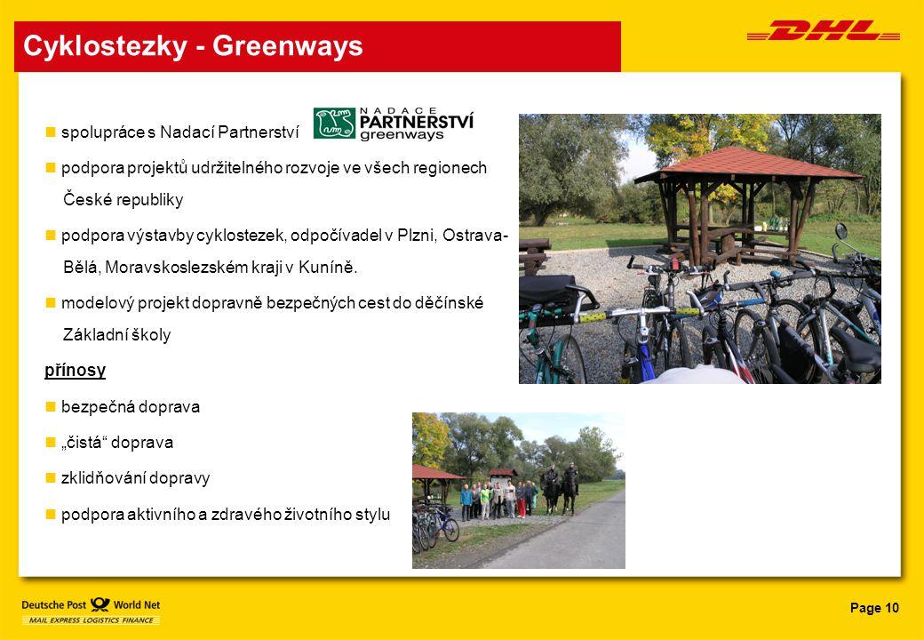 Page 10 Cyklostezky - Greenways spolupráce s Nadací Partnerství podpora projektů udržitelného rozvoje ve všech regionech České republiky podpora výsta