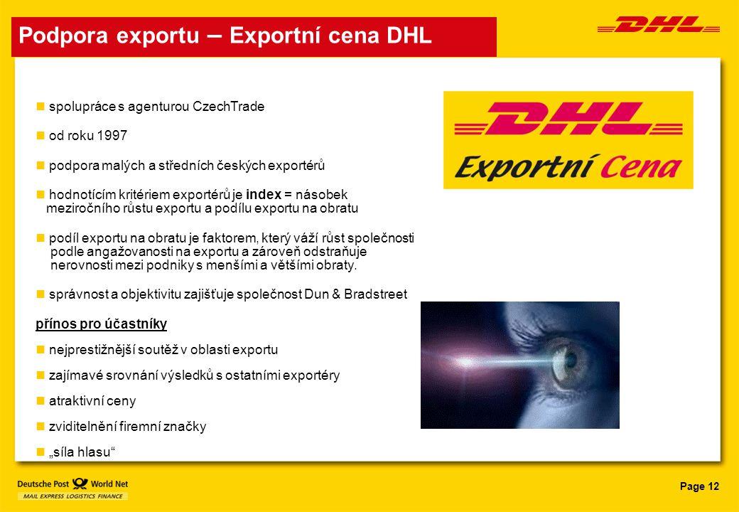 Page 12 Podpora exportu – Exportní cena DHL spolupráce s agenturou CzechTrade od roku 1997 podpora malých a středních českých exportérů hodnotícím kri