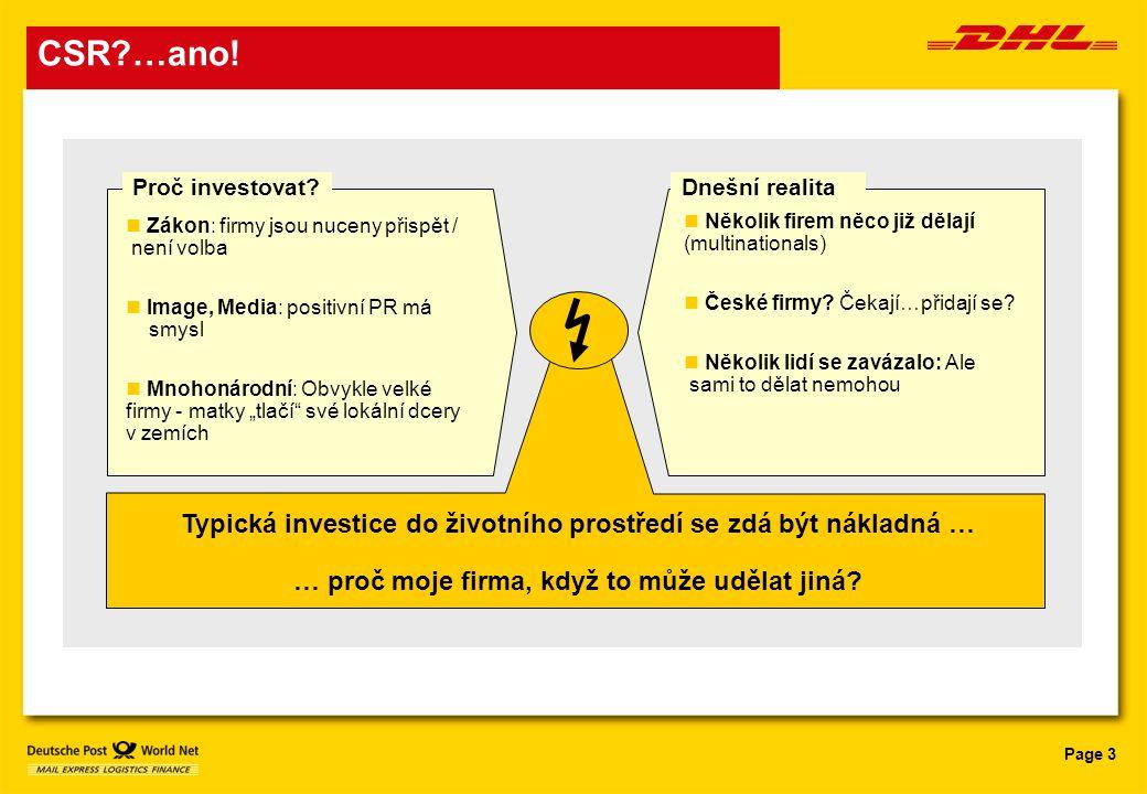 Page 3 CSR?…ano! Dnešní realitaProč investovat? Typická investice do životního prostředí se zdá být nákladná … … proč moje firma, když to může udělat