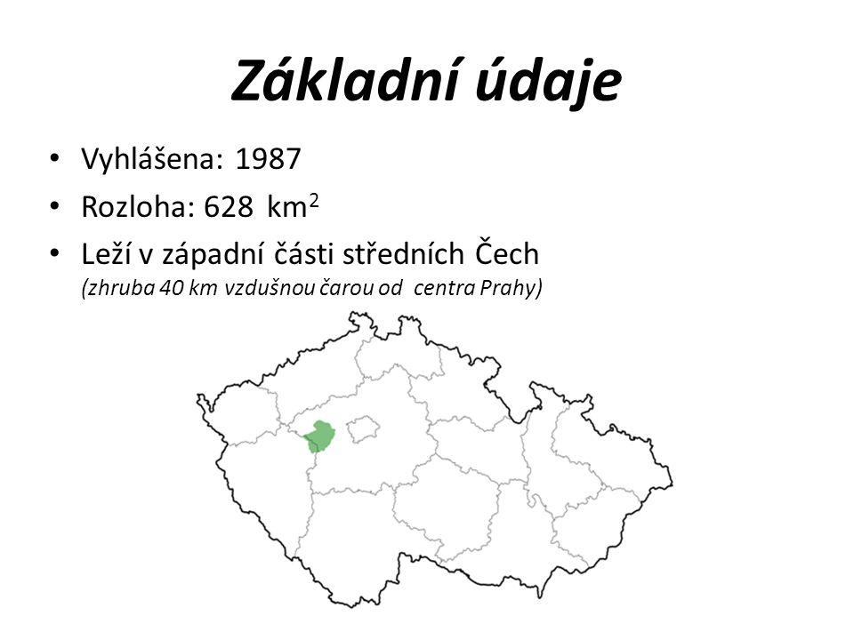 Základní údaje Vyhlášena: 1987 Rozloha: 628 km 2 Leží v západní části středních Čech (zhruba 40 km vzdušnou čarou od centra Prahy)