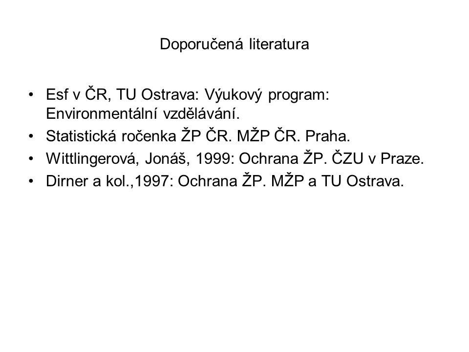 Doporučená literatura Esf v ČR, TU Ostrava: Výukový program: Environmentální vzdělávání.