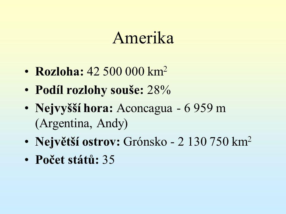 Amerika Rozloha: 42 500 000 km 2 Podíl rozlohy souše: 28% Nejvyšší hora: Aconcagua - 6 959 m (Argentina, Andy) Největší ostrov: Grónsko - 2 130 750 km 2 Počet států: 35