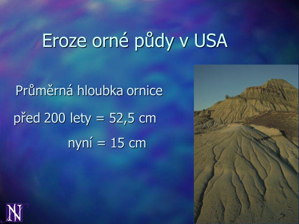 Eroze orné půdy v USA Průměrná hloubka ornice před 200 lety = 52,5 cm nyní = 15 cm