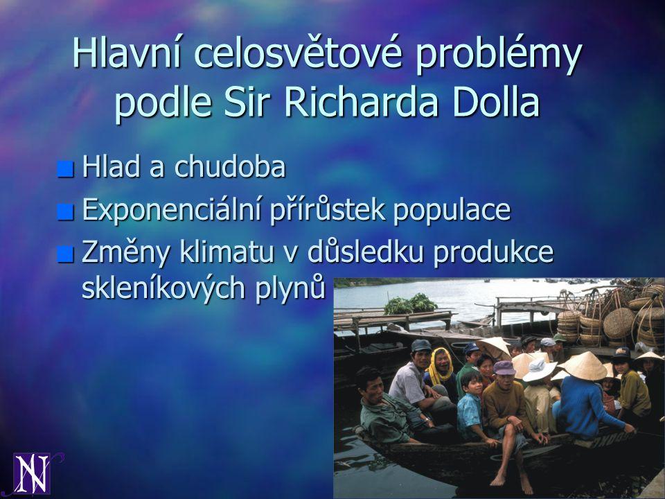 Hlavní celosvětové problémy podle Sir Richarda Dolla n Hlad a chudoba n Exponenciální přírůstek populace n Změny klimatu v důsledku produkce skleníkov