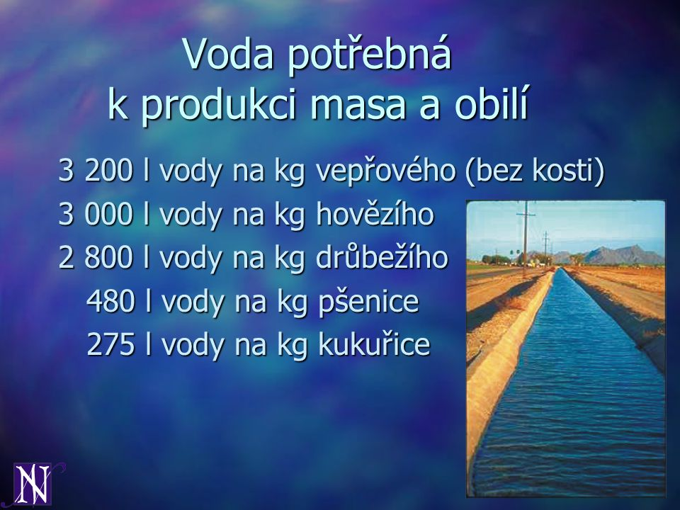 Voda potřebná k produkci masa a obilí 3 200 l vody na kg vepřového (bez kosti) 3 000 l vody na kg hovězího 2 800 l vody na kg drůbežího 480 l vody na