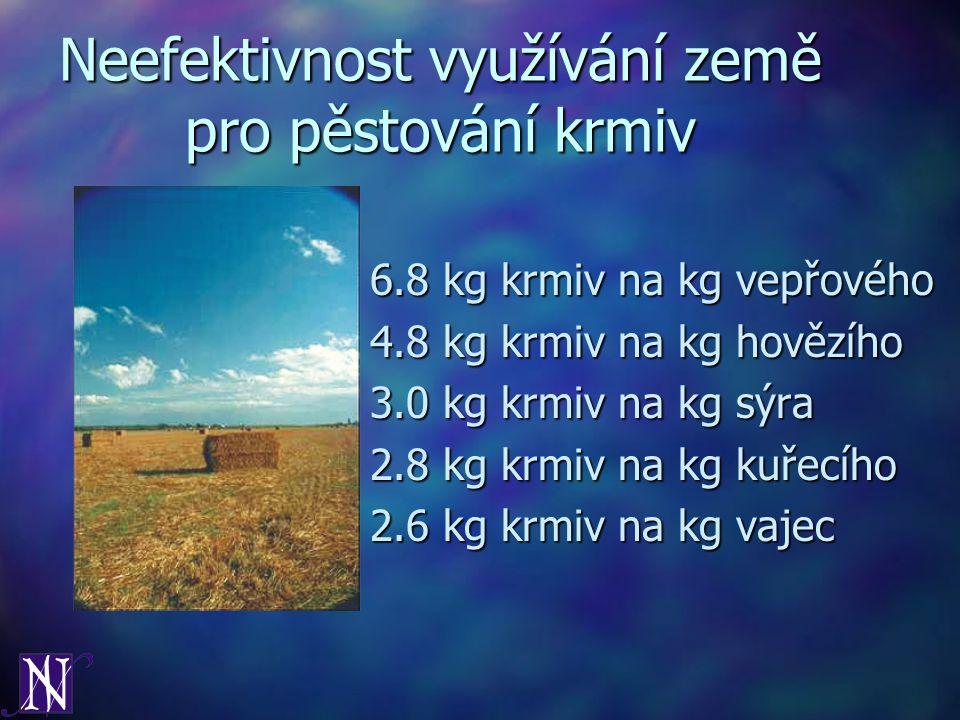 Neefektivnost využívání země pro pěstování krmiv 6.8 kg krmiv na kg vepřového 4.8 kg krmiv na kg hovězího 3.0 kg krmiv na kg sýra 2.8 kg krmiv na kg k