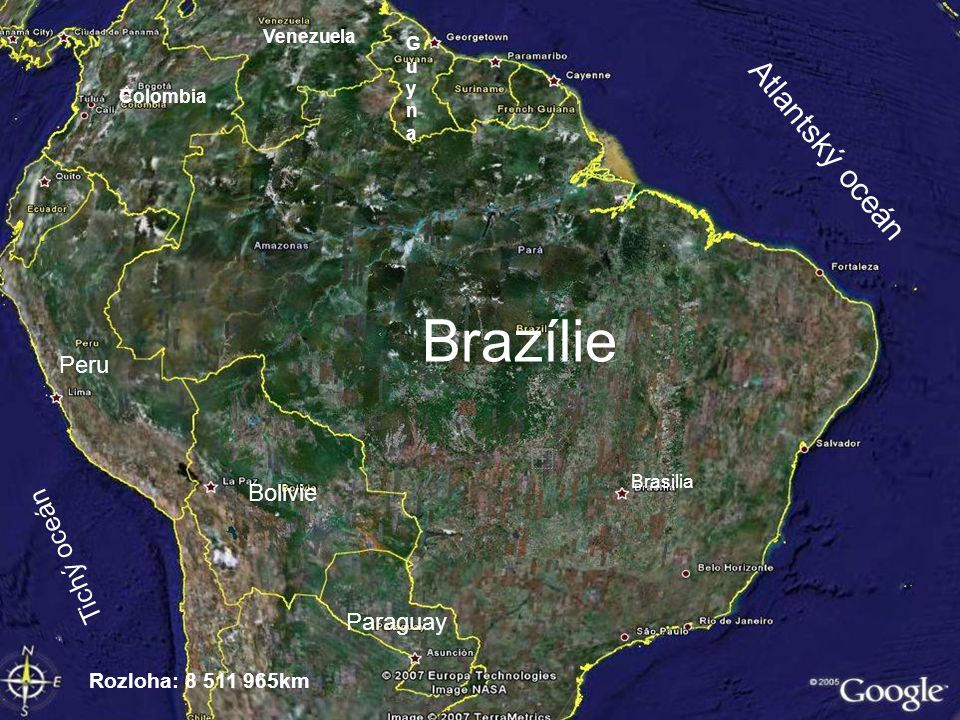 Brazilská vlajka Brazilský znak Státní zřízení: republikaúřední řeč:brazilská portugalština, indiánské jazyky Oficiální název: Brazilská federativní republika Hlavní město (počet obyvatel): Brasília (1.600.000 ) Náboženství: křesťané(88% římští katolíci,6% protestanti), vúdú