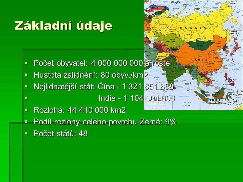  Počet obyvatel: 4 000 000 000 a roste  Hustota zalidnění: 80 obyv./km2  Nejlidnatější stát: Čína - 1 321 851 888  Indie - 1 104 004 000  Rozloha: 44 410 000 km2  Podíl rozlohy celého povrchu Země: 9%  Počet států: 48 Základní údaje