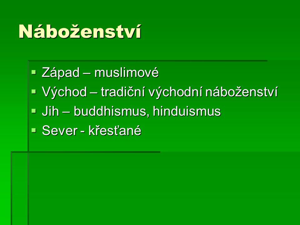 Náboženství  Západ – muslimové  Východ – tradiční východní náboženství  Jih – buddhismus, hinduismus  Sever - křesťané