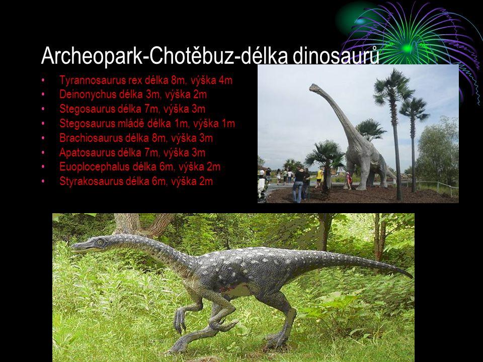 Archeopark-Chotěbuz-délka dinosaurů Tyrannosaurus rex délka 8m, výška 4m Deinonychus délka 3m, výška 2m Stegosaurus délka 7m, výška 3m Stegosaurus mlá