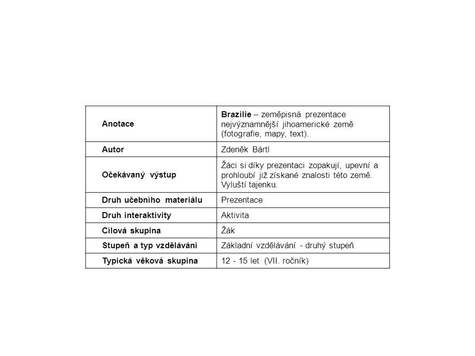 Anotace Brazílie – zeměpisná prezentace nejvýznamnější jihoamerické země (fotografie, mapy, text).