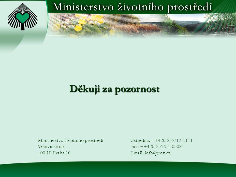 Děkuji za pozornost Ministerstvo životního prostředí Vršovická 65 100 10 Praha 10 Ústředna: ++420-2-6712-1111 Fax: ++420-2-6731-0308 Email: info@env.cz