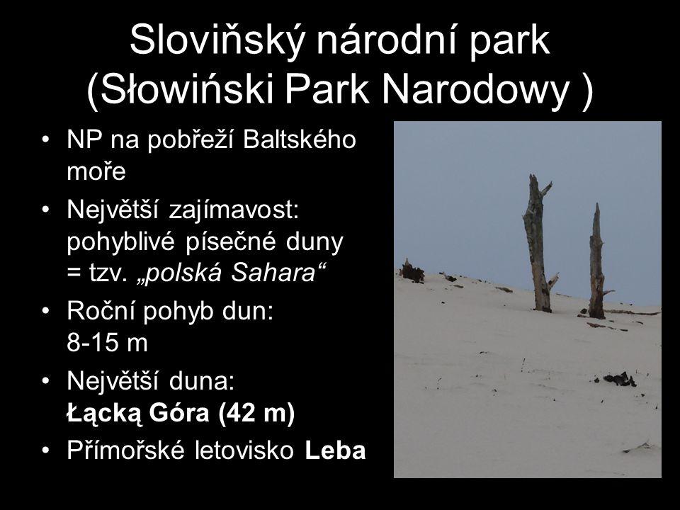 """Sloviňský národní park (Słowiński Park Narodowy ) NP na pobřeží Baltského moře Největší zajímavost: pohyblivé písečné duny = tzv. """"polská Sahara"""" Ročn"""