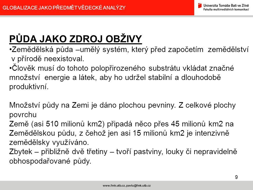 9 www.fmk.utb.cz, pavlu@fmk.utb.cz GLOBALIZACE JAKO PŘEDMĚT VĚDECKÉ ANALÝZY PŮDA JAKO ZDROJ OBŽIVY Zemědělská půda –umělý systém, který před započetím